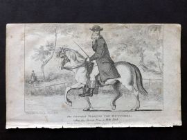 Wonderful Museum C1805 Print. Martin van Butchell riding Poney in Hyde Park